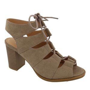 top moda cutout lace up peep toe sandal, size 6.5